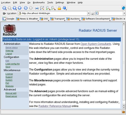 Radiator RADIUS server GUI - OSC